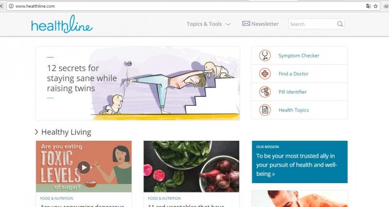 giao diện trang chủ của healthline.com