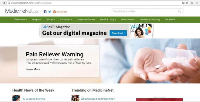 Giao diện của medicinenet.com