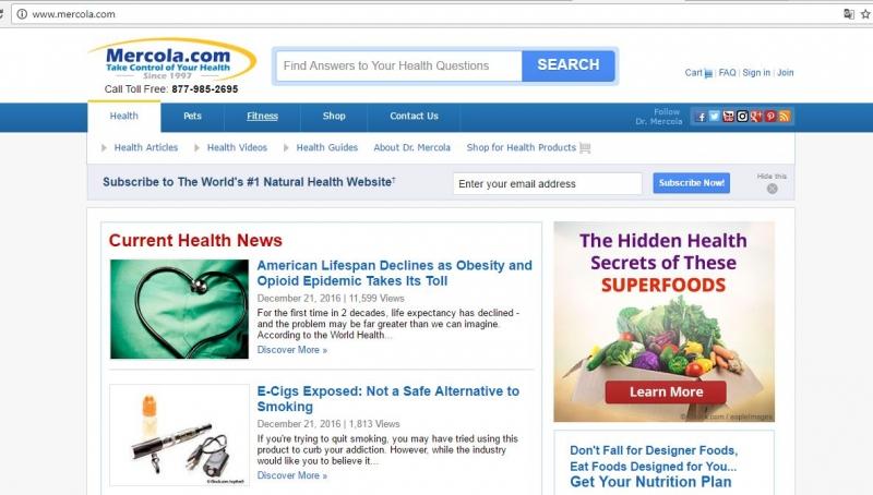 Giao diện của trang web mercola.com