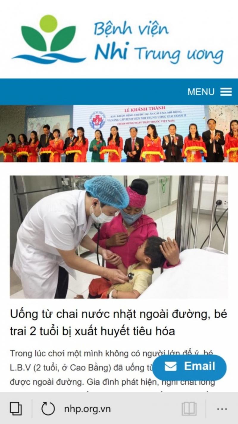 Trang chủ của bệnh viện nhi trung ương
