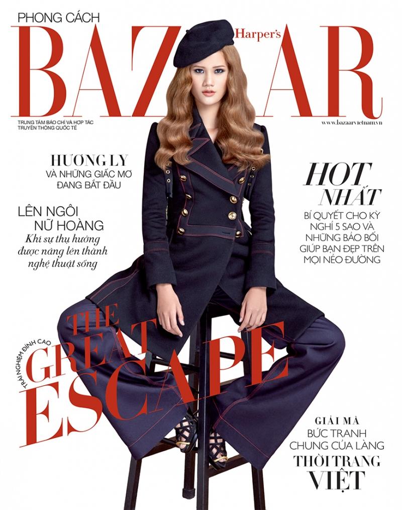 Xuất hiện trên bìa tạp chí Bazaar với bộ đồ hơi hướng cổ điển và mái tóc vàng óng khiến Hương Ly mang một nét đẹp đậm chất Châu Âu.