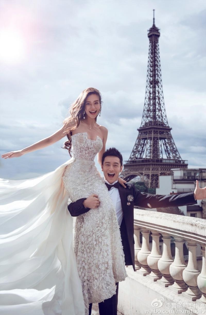 Huỳnh Hiểu Minh và Angela Baby chụp ảnh cưới tại Pháp