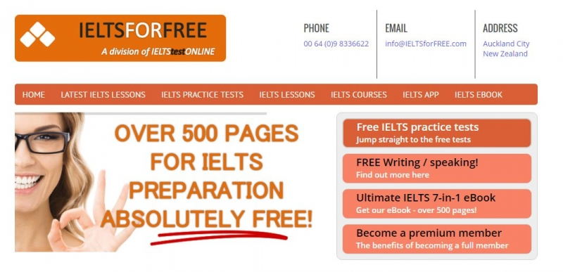 Giao diện trang chủ IELTS For Free
