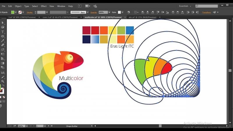 Giao diện Illustrator đang thiết kế logo