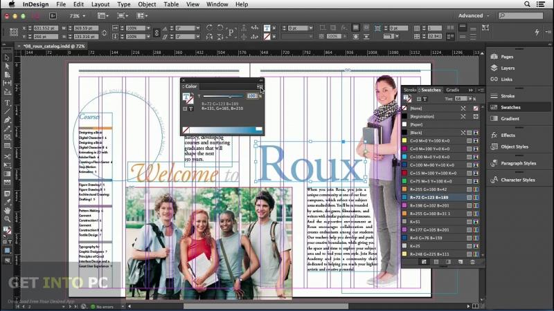 Giao diện InDesign đang thiết kế tạp chí