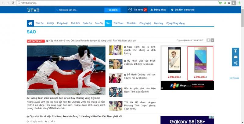 Trang tinvn sử dụng tên miền .info