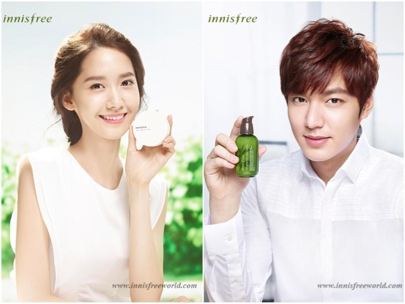 Yonna( SNSD) và Lee Min Ho, hai nghệ sĩ nổi tiếng hiện đang là gương mặt đại diện cho Innisfree
