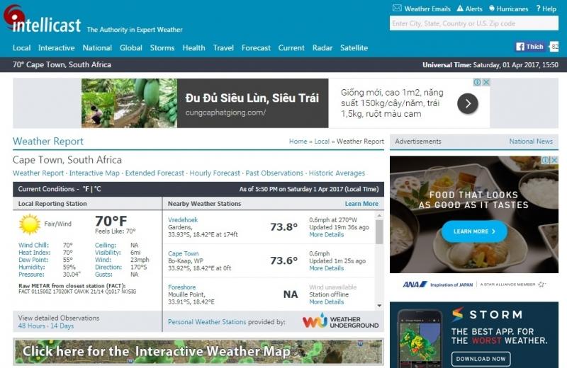 Giao diện của trang web thời tiết Intellicast