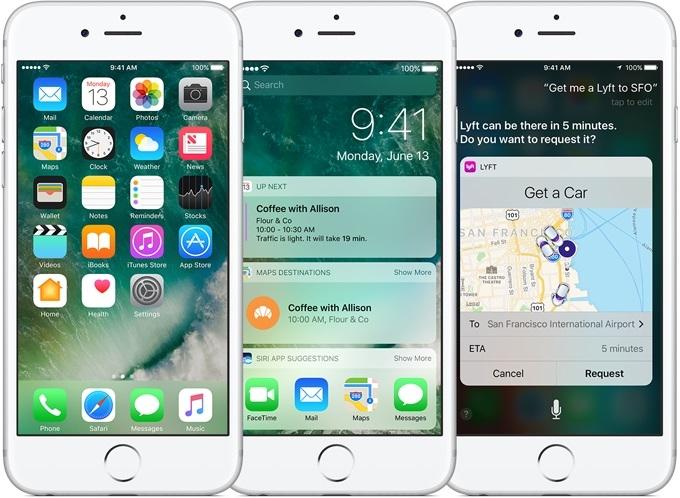 Giao diện của hệ điều hành iOS chạy trên điện thoại iPhone