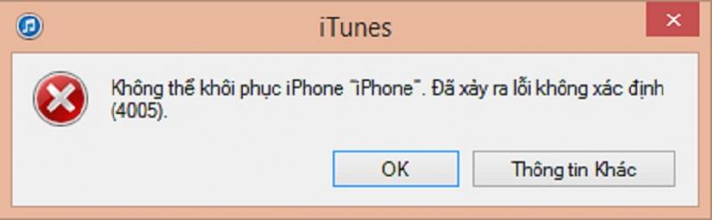 iPhone 5 restore lỗi 4005