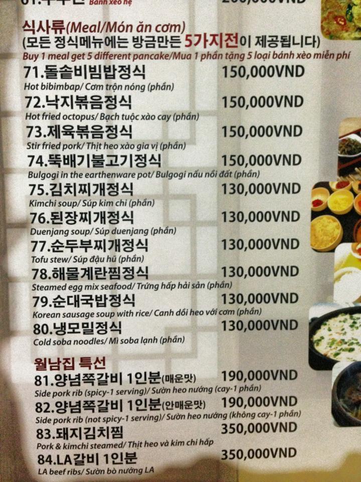 Menu đồ ăn với cả tiếng Hàn và tiếng Việt bên dưới