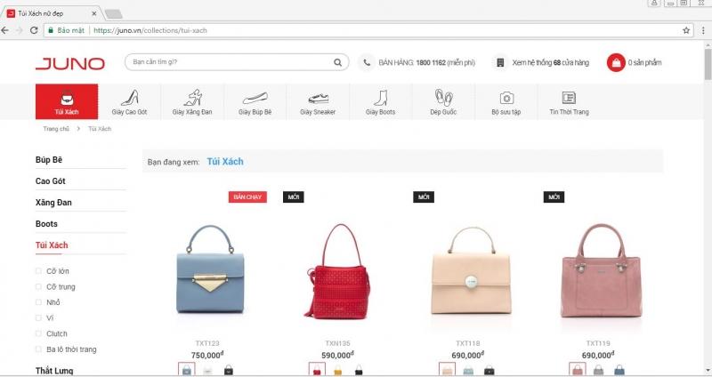 Website của Jundo và các sản phẩm túi xách.
