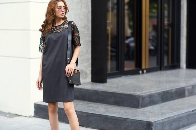 Đầm đen suông