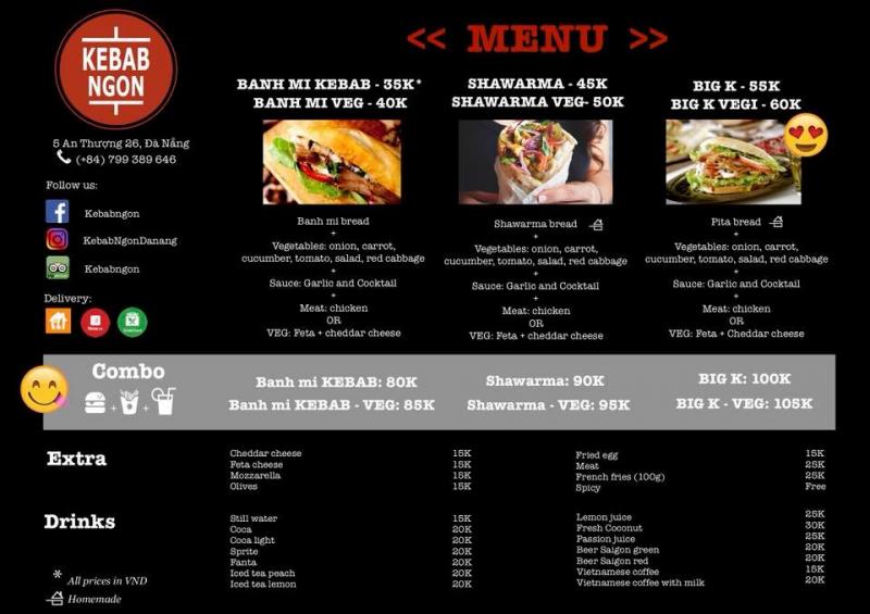 Thực đơn  Kebab Ngon Đà Nẵng