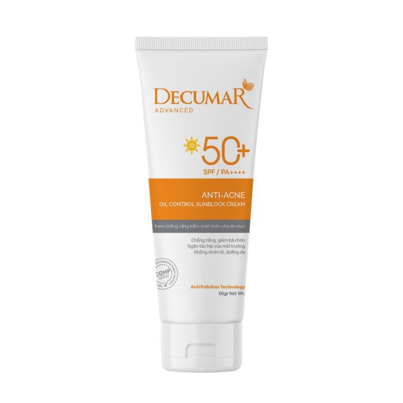 Kem Chống Nắng kiềm dầu nâng tone chuyên biệt cho da mụn Decumar Advanced Sunblock SPF50