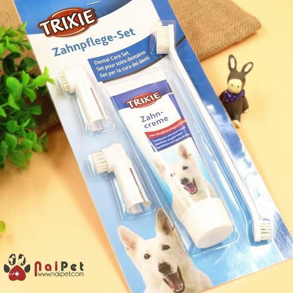 Kem Đánh Răng Bàn Chải Đánh Răng Chó Mèo Trixie 100g