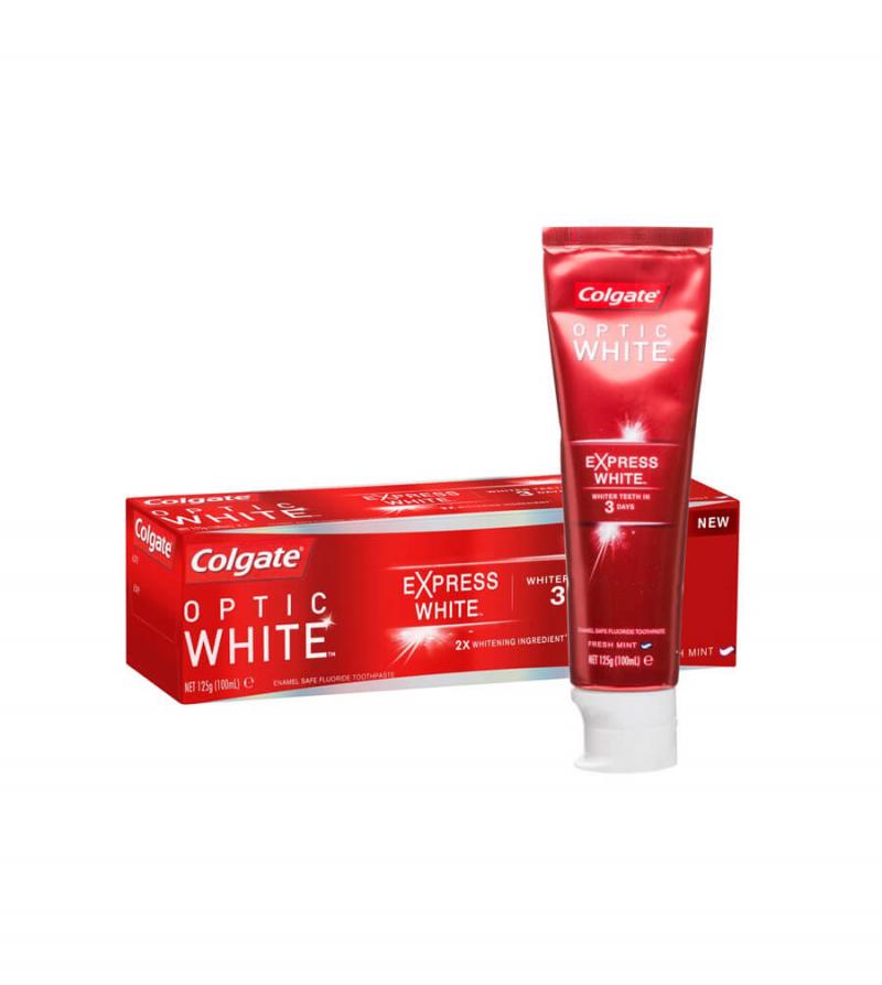 Kem đánh răng Colgate Optic White Express White Whitening được sử dụng công nghệ làm trắng răng chứa Hydrogen Peroxide giúp loại bỏ tất cả các mảng bám và các vết bẩn trên bề mặt răng mà không làm hại đến men răng