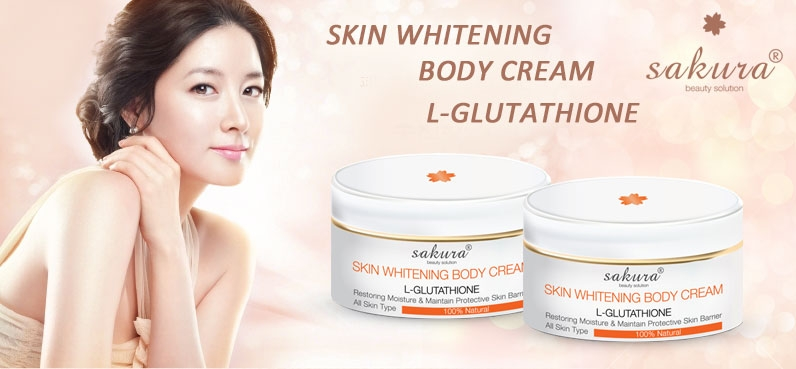 Kem dưỡng trắng da toàn thân Sakura Skin Whitening L-Glutathione Body Cream với hiệu quả làm trắng vượt trội