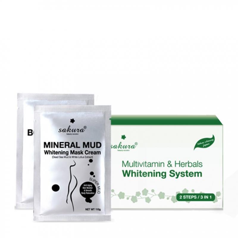 Kem tắm trắng Sakura Multivitamin & Herbals Whitening System