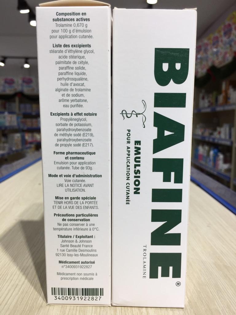 Kem trị bỏng Biafine Elmusion 93g của Pháp dùng sơ cứu ngay vết bỏng, giúp vết thương nhanh lành và hạn chế để lại sẹo