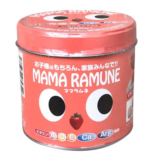 Kẹo cho trẻ biếng ăn Mama Ramune vị dâu 200 viên Nhật Bản