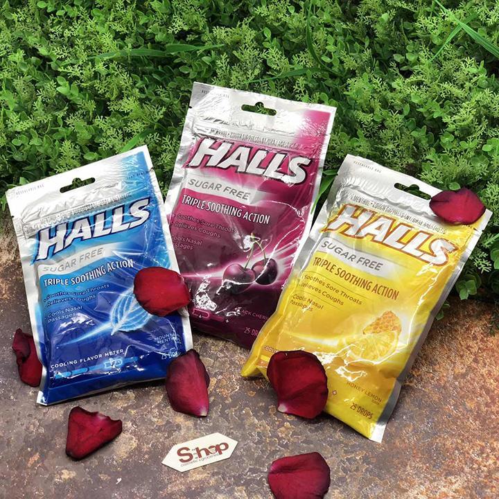 Kẹo Halls thông cổ, mát họng Halls Soothes & Relieves Tropical Fruit 30 viên