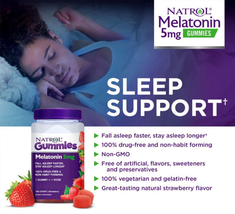 Kẹo ngậm dễ ngủ Natrol Melatonin Gummies Melatonin 10mg