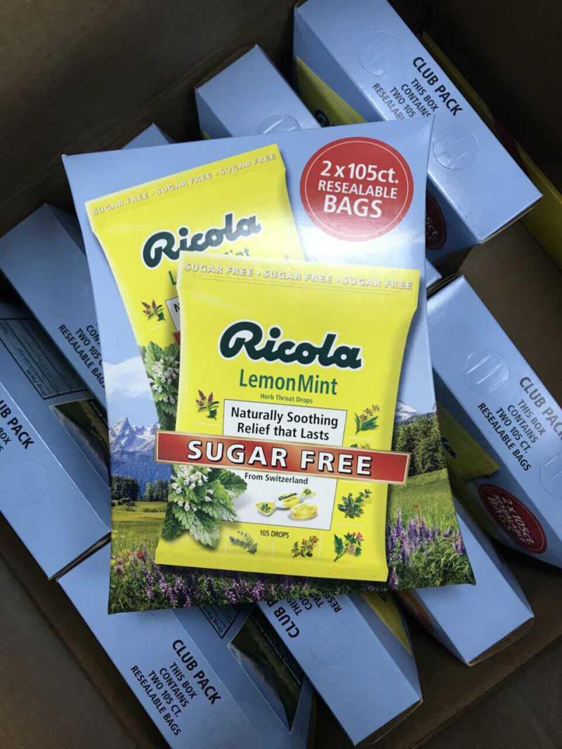 Kẹo ngậm thông cổ Ricola không đường Ricola Lemon Mint Sugar Free 105 viên