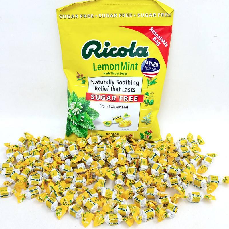 Viên ngậm không đường Ricola Lemon Mint Herb Throat Drops giúp thông mát cổ họng bạn dễ dàng, cải thiện các chứng ho, viêm họng và nghẹt mũi