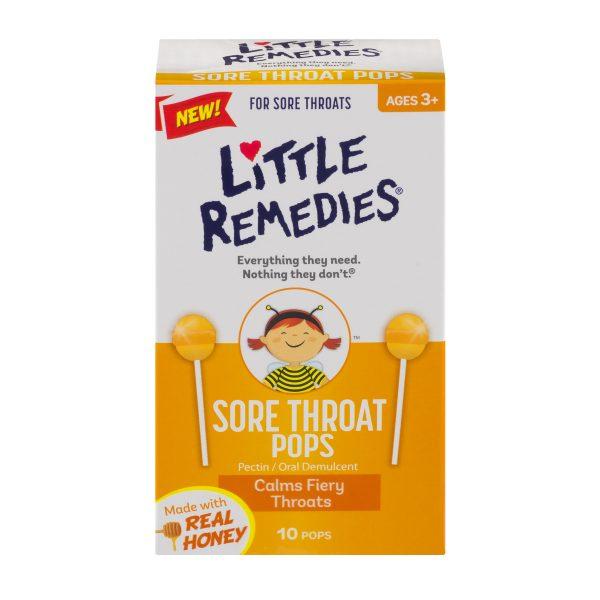 Kẹo ngậm trị đau họng dành cho trẻ Little Remedies Sore Throat Pops dưới dạng cây kẹo mút sẽ giúp bé thích thú dùng kẹo hơn việc dùng thuốc
