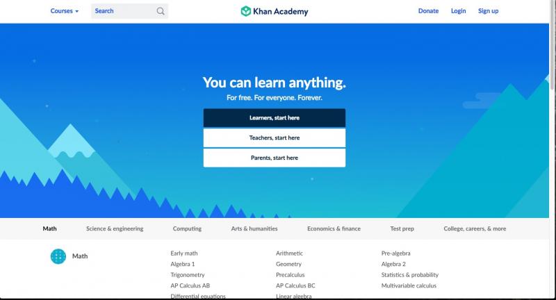 Trang web Khan Academy