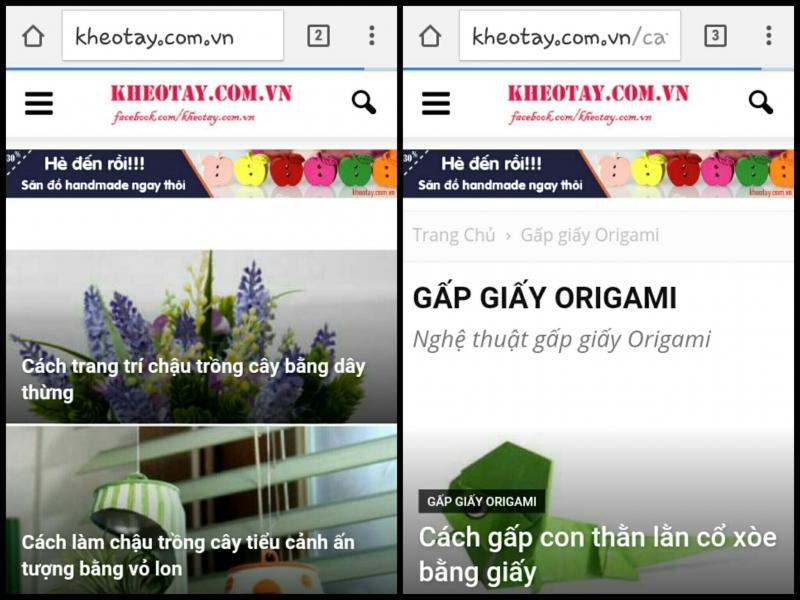 Trang chủ của Kheotay.com và chuyên mục origami