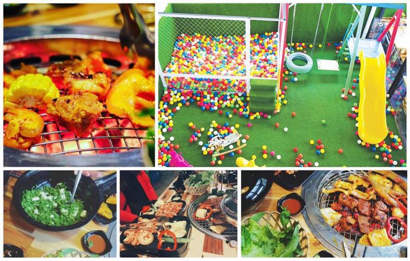 Có thể thấy nhà hàng rất chu đáo và tâm lý khi chuẩn bị cả nhà bóng cho trẻ chơi