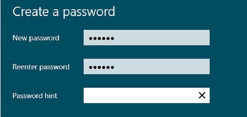 Không đặt Password được cho Windows