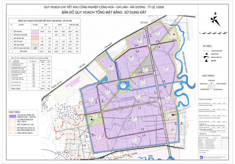 Bản đồ quy hoạch tổng thể khu công nghiệp Cộng Hòa - Chí Linh