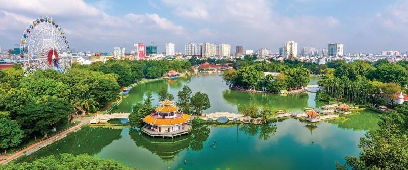 Toàn cảnh khu Đầm Sen nhìn từ trên cao