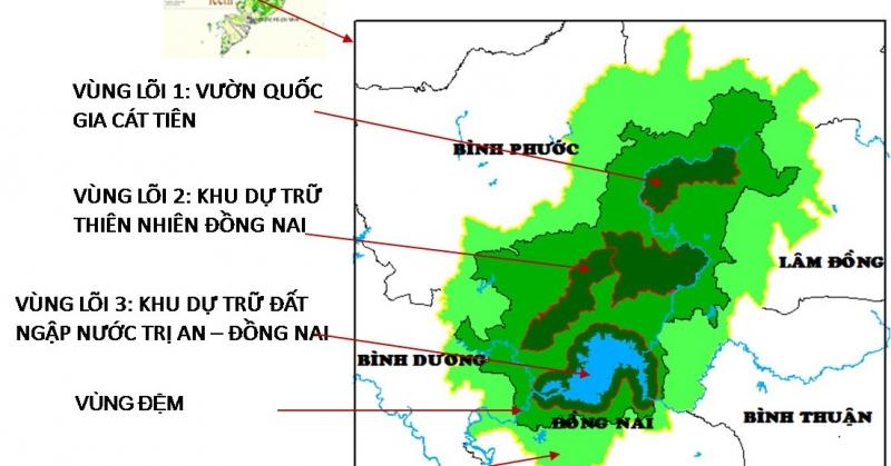 Sơ đồ các vùng thuộc khu dự trữ sinh quyển Đồng Nai