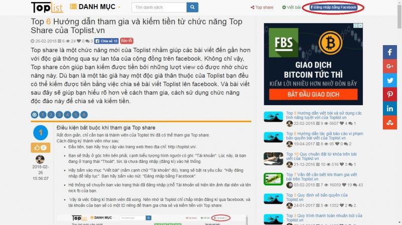 Kiếm thêm thu nhập bằng hình thức Topshare trên Toplist.vn