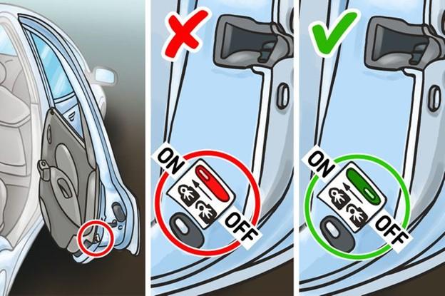 Kiểm tra khóa trẻ em trước khi lên taxi