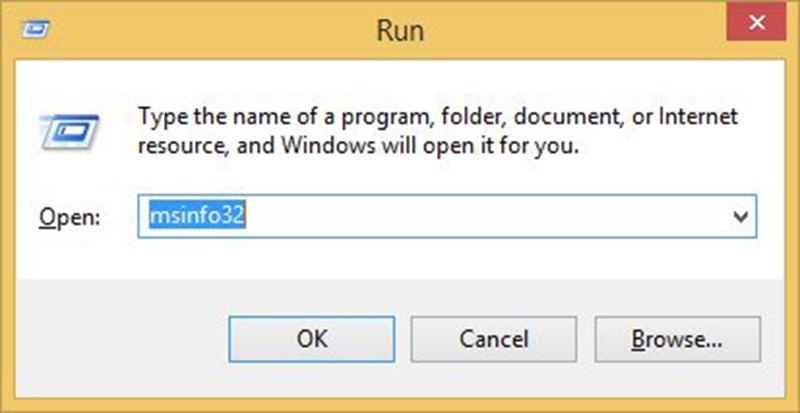 Mở cửa sổ Run bằng cách nhấn tổ hợp phím Windows + R, khi cửa sổ Run xuất hiện tiếp tục gõ lệnh msinfo32 tại khung trống Open
