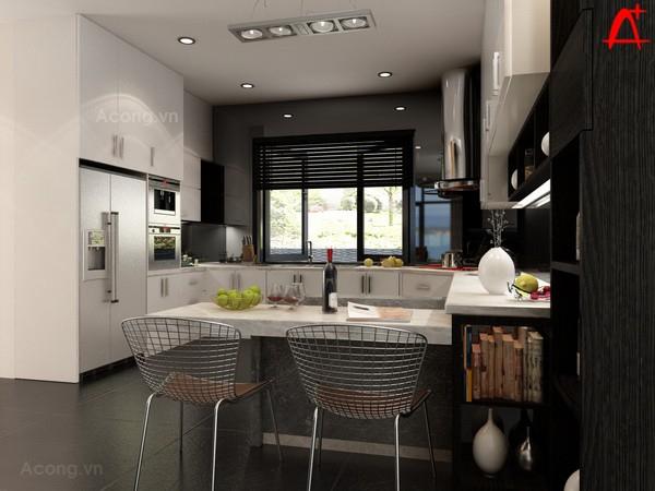 Khu vực bếp nấu tiện nghi và trang nhã