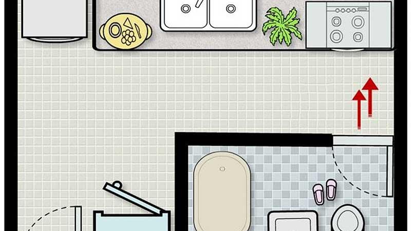 Kiêng đặt phòng bếp đối diện nhà vệ sinh