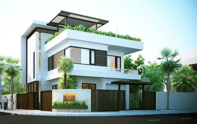 Ngôi nhà có tường bao quanh vừa tầm, đẹp mắt