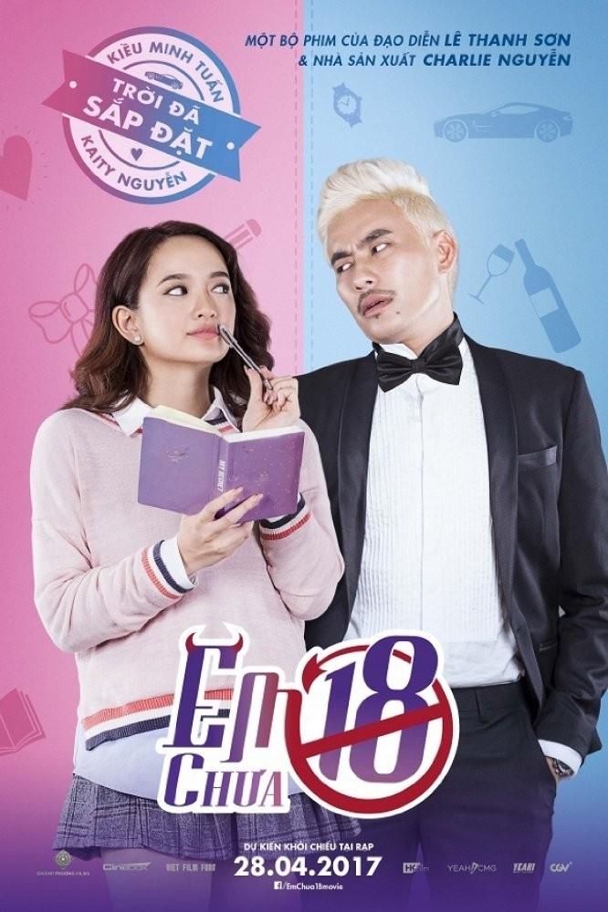 Kiều Minh Tuấn và bạn diễn trong phim Em chưa 18