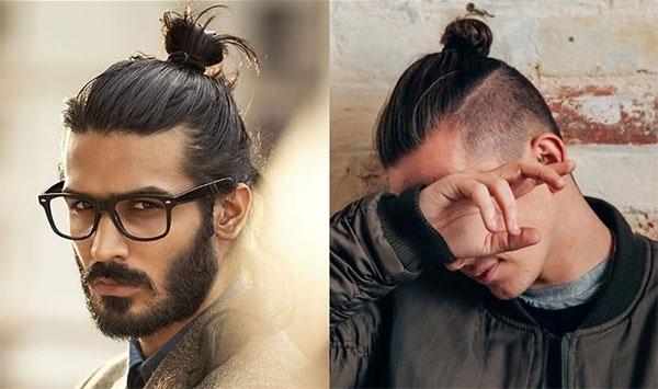 Kiểu tóc nam dài buộc phù hợp với khuôn mặt tam giác.