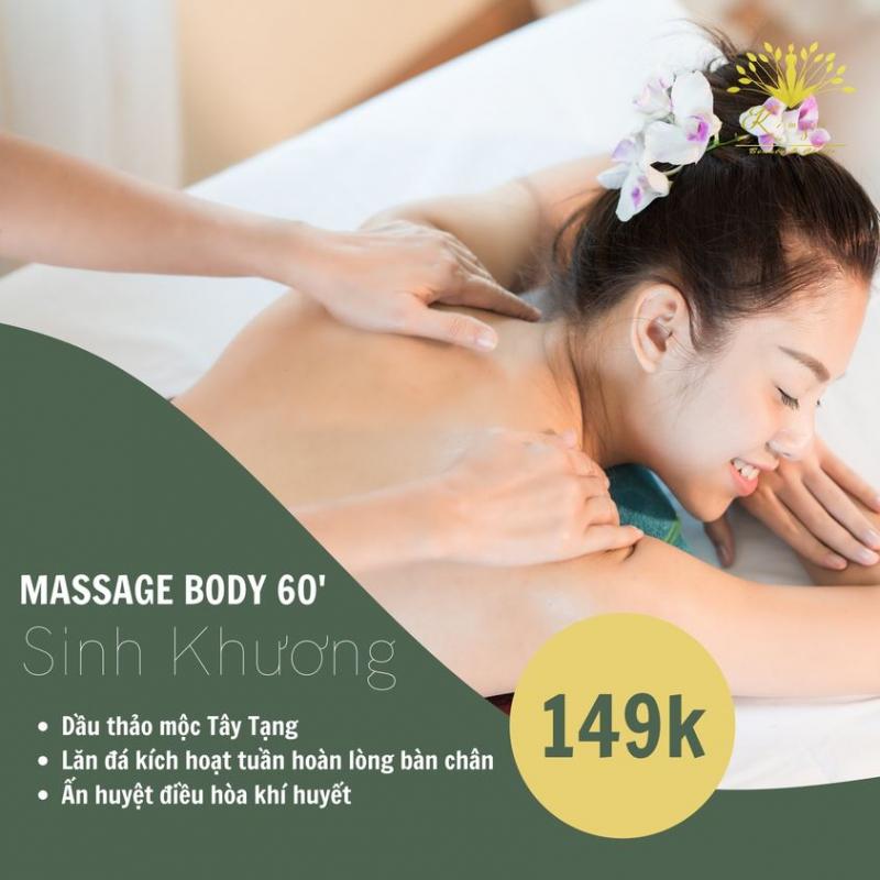 Kim Spa Tây Ninh cũng rất nổi tiếng với các dịch vụ như: Massage Body 60s (Dầu thảo mộc), chăm sóc da mặt Bách Ngọc (mặt nạ thảo mộc), tắm trắng, lăn kim,...