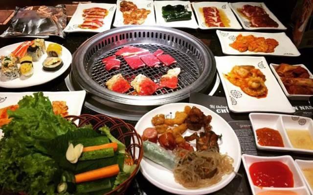 Những món nướng của nhà hàng mang phong cách ẩm thực Hàn Quốc