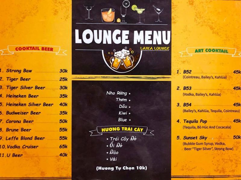 Menu Laika Lounge