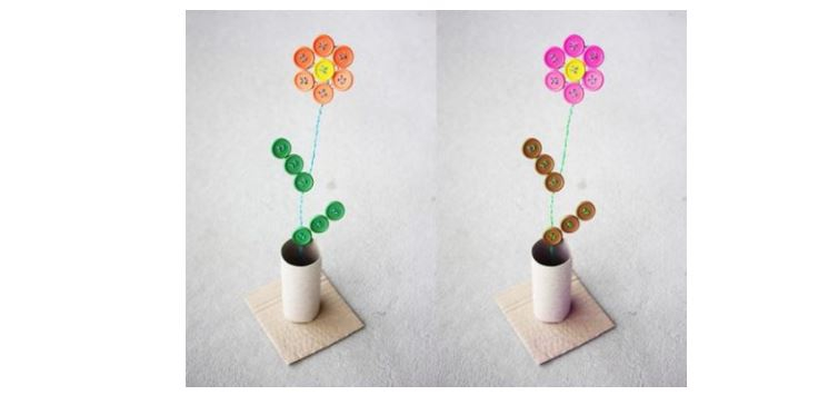 Làm chậu hoa từ cúc áo