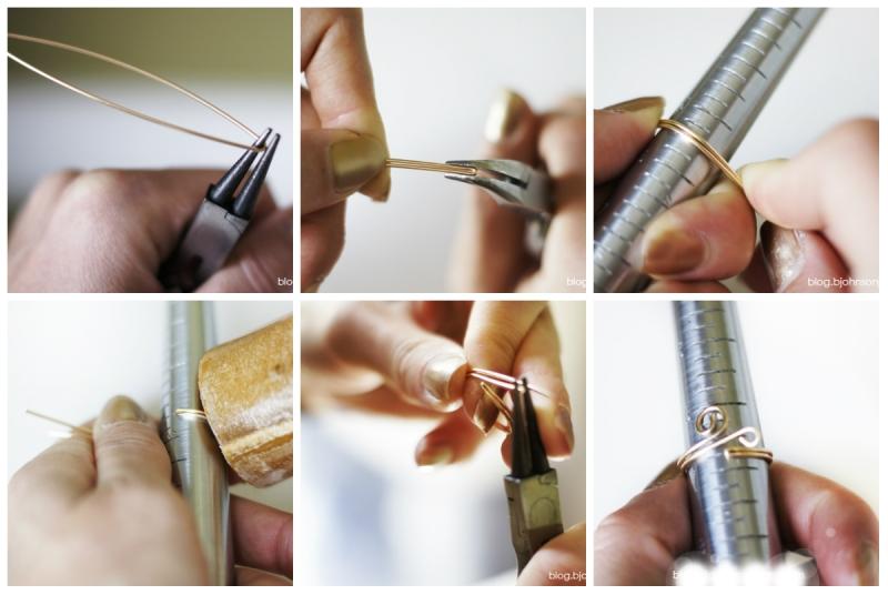 Làm nhẫn bằng sợi kẽm hoặc sợi đồng (kiểu 2)